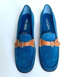 PRADA Cobalt Blue Suede Shoes Loafers w/ Buckle